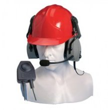Double Earpiece Ear Defender for Hard Hat Use Only with Small In-Line PTT (VOX)