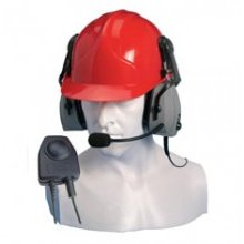 Double earpiece ear defender for hard hat use only with in line PTT (Vox)